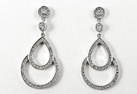 Beautiful Elegant Open Multi Circular Pattern CZ Dangle Brass Earrings