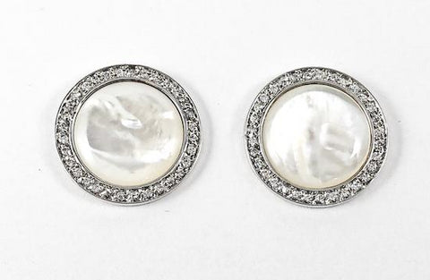 Beautiful Elegant Round Center Mother Of Pearl Stone CZ Frame Stud Brass Earrings