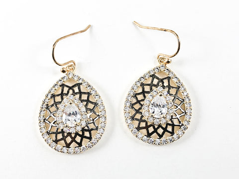 Elegant Pear Shape Open Black Cage Design CZ Dangle Gold Tone Fish Hook Brass Earrings