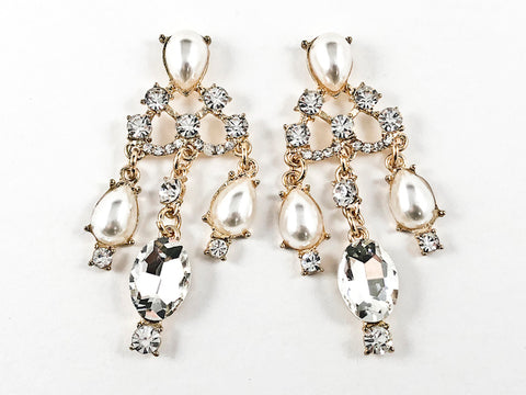 Unique Antique Style Pearl & Crystal Chandelier Design Gold Tone Fashion Earrings