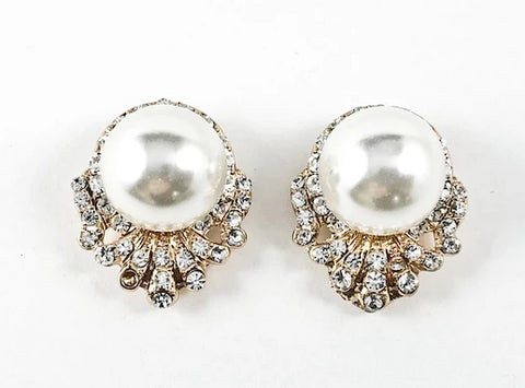 Fancy Large Pearl With Bottom Crystal Design Gold Tone Fashion Earrings