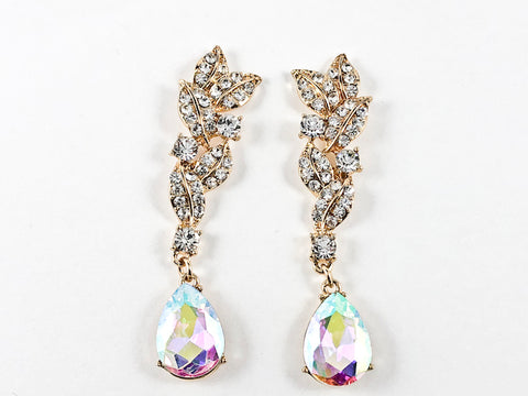 Fancy Long Floral Dangle Aurora Borealis Crystals Gold Tone Fashion Earrings
