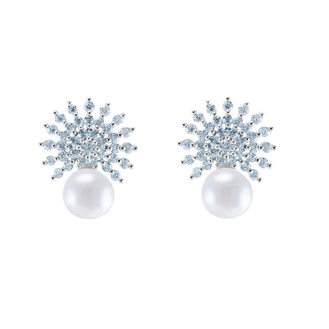 Classic Unique Sun Design With Pearl CZ Brass Earrings