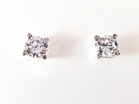 Classic 8 MM Round Cut CZ Stud Brass Earrings