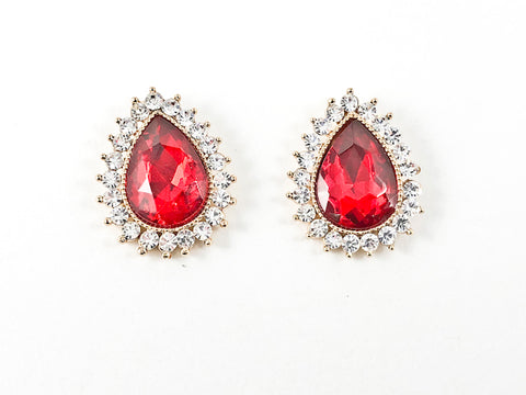 Fancy Large Pear Pear Shape Red Color Stone With Mini Crystal Frame Brass Earrings
