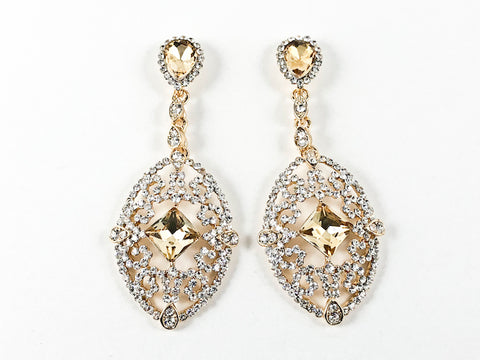 Fancy Long Unique Oval Shape Vintage Style Gold Tone With Topaz Color Stones Drop Fashion Earrings