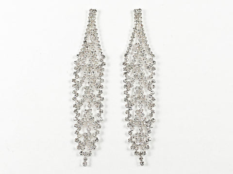 Fancy Sparkly Statement Long Dangle Crystal Fashion Earrings