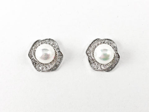 Classic Floral Background With Center Pearl CZ Brass Earrings