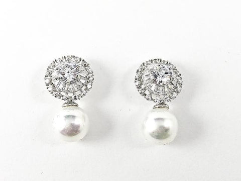 Classic Round With Pearl Drop CZ Brass Earrings