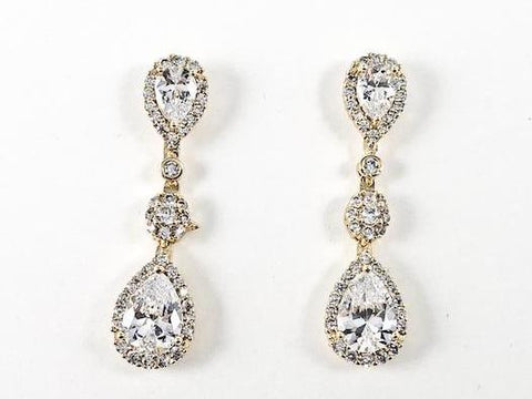 Classic Multi Pear Shape CZ Dangle Brass Earrings