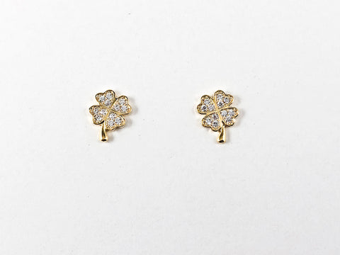 Cute Dainty Clover CZ Stud Brass Earrings