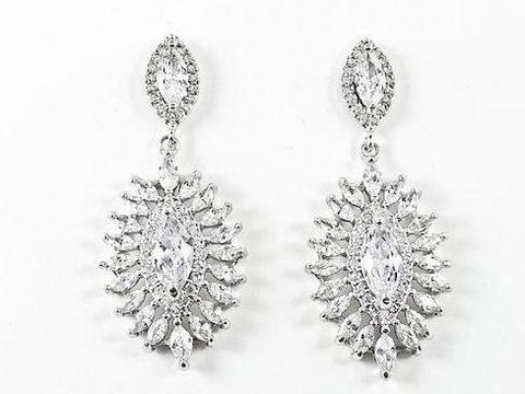Elegant Fine Marquise Cut & Shape CZ Dangle Brass Earrings