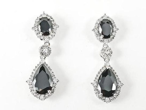 Stylish Classic 2 Row Black CZs Brass Earrings