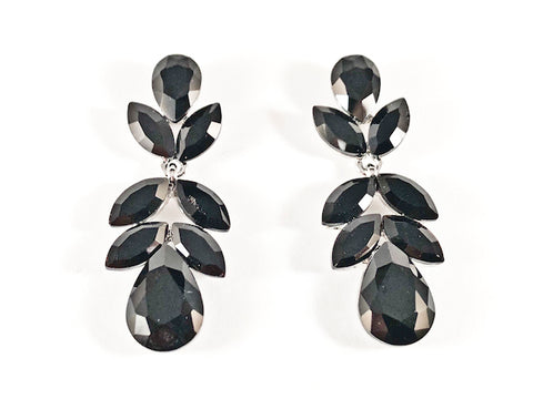 Beautiful Floral Leaf Dangle Black Color Crystals Fashion Earrings