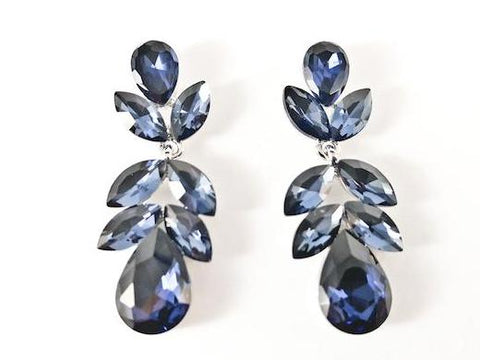 Beautiful Floral Leaf Dangle Sapphire Color Crystals Fashion Earrings
