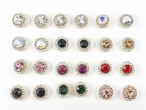 Nice 12 Pair Round Color Crystal Stud Fashion Earrings