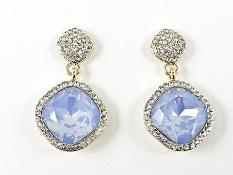 Nice Unique Curved Rounded Blue Crystal Drop Design Gold Tone Fashion Earrings