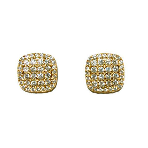 Classic Dainty Micro Setting Square Shape CZ Gold Tone Brass Earrings