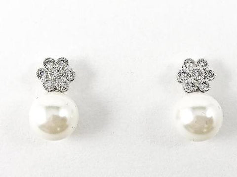 Cute Dainty Floral CZ With Bottom Pearl Brass Earrings