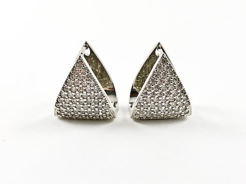 Classic Elegant Triangle Shape Micro Setting CZ Latch Back Brass Earrings