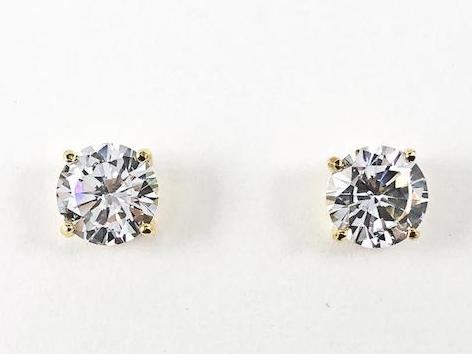 Classic 10MM CZ Gold Tone Stud Brass Earrings
