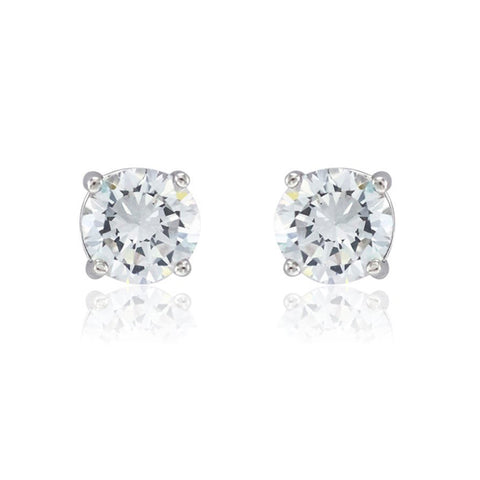 Classic Round Cut Prong Setting CZ Stud Brass Earrings