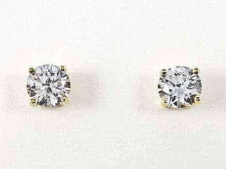 Classic Round Cut Prong Setting CZ Gold Tone Stud Brass Earrings