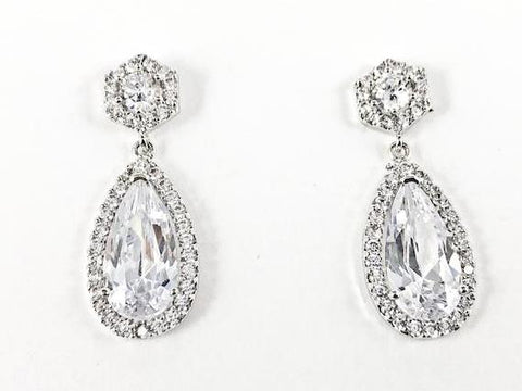 Elegant Classic Pear Shape Dangle CZ Brass Earrings