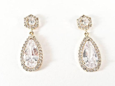 Elegant Classic Pear Shape Dangle CZ Gold Tone Brass Earrings
