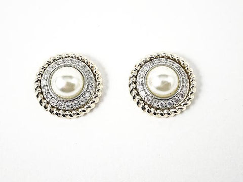 Beautiful Round Textured CZ With Center Pearl Two Tone Brass Earrings