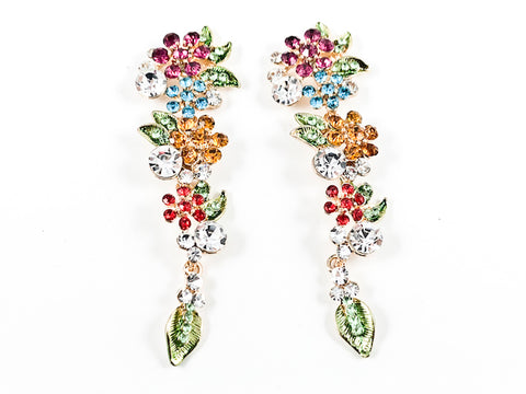 Beautiful Long Colorful Floral Pattern Fancy Fashion Earrings
