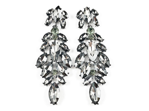 Fancy Long Mix Pattern Grey Color Crystal Stones Fashion Earrings
