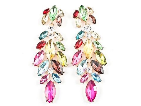 Fancy Long Mix Pattern Multi Color Crystal Stones Fashion Earrings