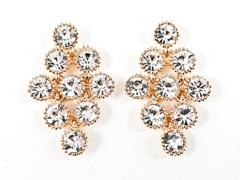 Elegant Unique Diamond Shape Multi Crystal Pattern Gold Tone Brass Earrings