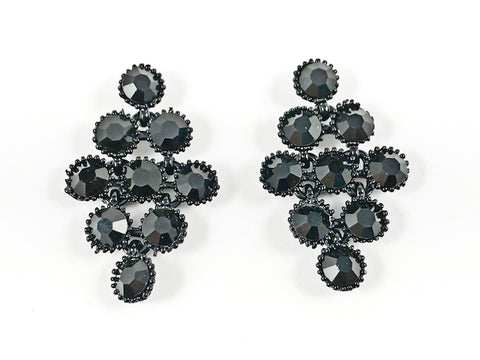 Elegant Unique Diamond Shape Multi Black Color Crystal Pattern Brass Earrings