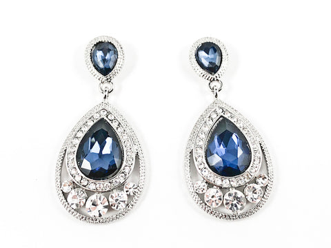 Classic Pear Shape Dangle Sapphire Color Crystal Design Fashion Earrings