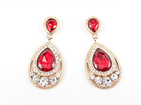 Classic Pear Shape Dangle Ruby Color Crystal Design Gold Tone Fashion Earrings