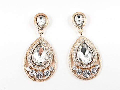 Classic Pear Shape Dangle Crystal Design Gold Tone Fashion Earrings