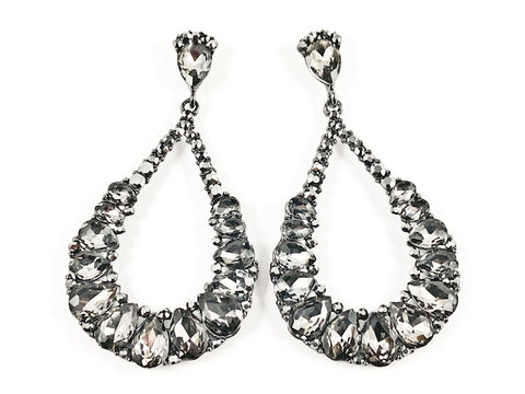 Beautiful Unique Rustic Style Large Pear Shape Dangle Grey Color Crystal Fashion Earrings