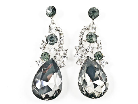 Unique Organic Floral Style Design Grey Color Crystal Fashion Earrings