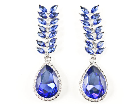 Unique Floral Leaf Design Style Blue Color Crystal Fashion Earrings
