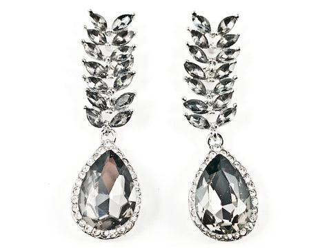 Unique Floral Leaf Design Style Grey Color Crystal Fashion Earrings