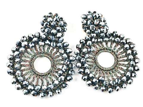 Unique Bold Confetti Style Round Shape Grey Color Crystal Gold Tone Fashion Earrings