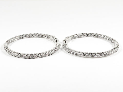 Classic Beautiful Single Row Inside Out CZ Hoop Brass Earrings