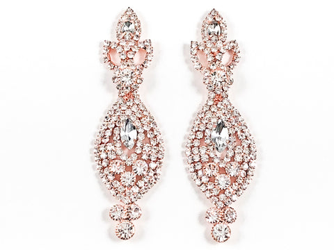Fancy Antique Style Design Pink Gold Tone Dangle Fashion Earrings