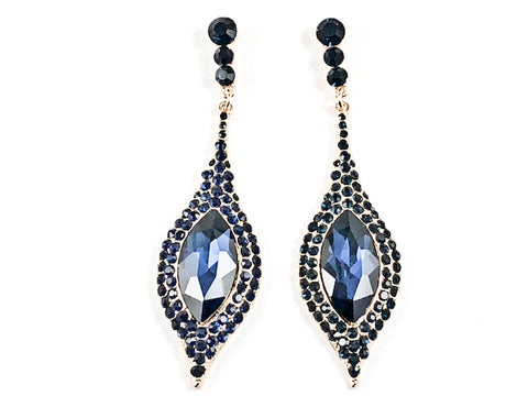 Fancy Beautiful Long & Narrow Design Style Sapphire Crystals Gold Tone Fashion Earrings