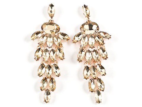 Fancy Unique Mix Shape Multi Dangle Chandelier Style Topaz Crystals Gold Tone Fashion Earrings