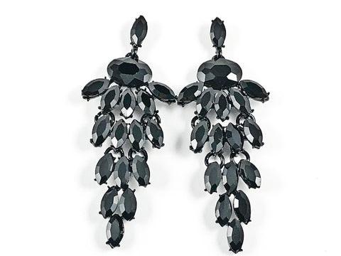 Fancy Unique Mix Shape Multi Dangle Chandelier Style Black Crystals Fashion Earrings