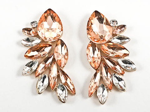 Fancy Floral Leaf Design Peach Color Crystals Gold Tone Fashion Earrings