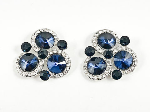 Fancy Unique Tri Round Halo Design Triangle Shape Sapphire Crystals Fashion Earrings